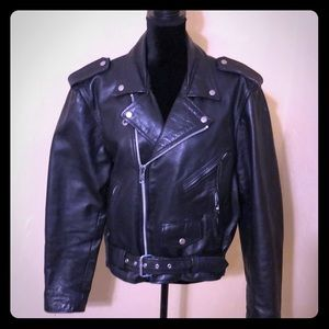 Women's black leather motorcycle jacket. Size 42/M